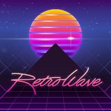 80s Retro Sci-Fi Background. Vector futuristic synth retro wave illustration in 1980s posters style Stock Photos