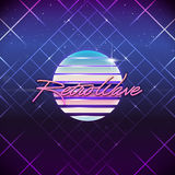 80s Retro Sci-Fi Background. Vector futuristic synth retro wave illustration in 1980s posters style Stock Photography