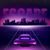 80s Retro Sci-Fi Background. Vector retro futuristic synth retro wave illustration in 1980s posters style Royalty Free Stock Images