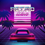 80s Retro Sci-Fi Background. Vector retro futuristic synth retro wave illustration in 1980s posters style Royalty Free Stock Image