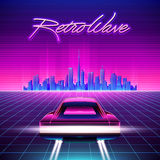 80s Retro Sci-Fi Background. Vector retro futuristic synth retro wave illustration in 1980s posters style Stock Images