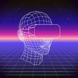 80s Retro Sci-Fi Background with VR Headset. Vector futuristic synth retro wave illustration in 1980s posters style. Suitable for any print design in 80s style Stock Photo
