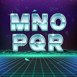 80s Retro Sci-Fi Font from M to R. On futuristic background Royalty Free Stock Image