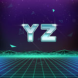 80s Retro Sci-Fi Font from Y to Z. On futuristic background vector illustration