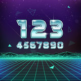 80s Retro Sci-Fi Numbers Royalty Free Stock Photo