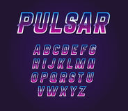 80s Retro Sci-Fi Universe Pulsar  Font Alphabet Vector Set. EPS Royalty Free Stock Photos