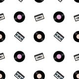 1980s retro seamless pattern. Vintage loopable background with vinyl records and audio tapes.  royalty free illustration