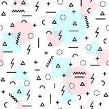 80s retro shapes seamless pattern in soft colors. Retro seamless pattern in soft pastel pink blue colors with geometric shapes, 80s memphis fashion style. Ideal Royalty Free Stock Photos