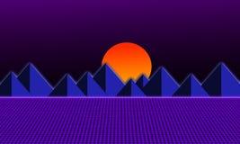 80s retro style illustration design background. With pyramids, neon grids, and sun on dark purple background stock illustration