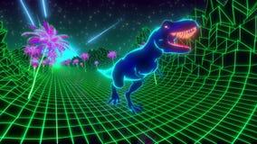 80s retro style loop animation. T-Rex dinosaur walks through a neon jungle. Vj