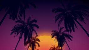 80 ` s retro stylowy tło z tropikalnymi kokosowymi drzewami i zmierzch od 3d odpłacamy się Fotografia Royalty Free