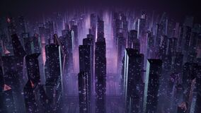 80s retrowave 3D animation of a retro cityscape with glowing neon lights