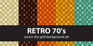 ` 70 s réglé de modèle de point de polka rétro Photographie stock
