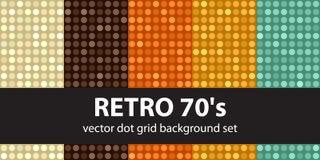 ` 70 s réglé de modèle de point de polka rétro Photos stock