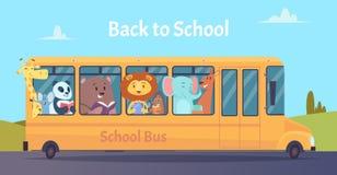 S?rie do auto escolar - 1 Caráteres dos animais do jardim zoológico de volta à escola no vetor amarelo do ônibus que aprende o co ilustração do vetor
