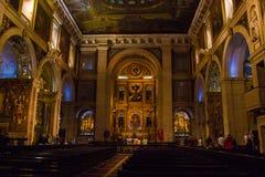 S Roque Church, Lissabon, Portugal - een algemene binnenmening Stock Fotografie