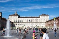 ` S Royal Palace di Savoia nel quadrato di Castello, Torino, Italia fotografia stock libera da diritti