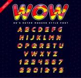 80 ` s - 90 ` s Art-Alphabet Bunter heller Guss-Satz Vektor Lizenzfreie Stockfotos