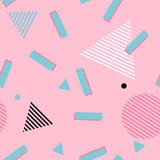 80s 90s background seamless vector pop art pattern wallpaper. Pink abstract memphis style pattern. Geometric 80s style background with green rectangles, circles Stock Photo