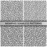 80s - 90s memphis patterns. Black and white memphis patterns. 80s - 90s style. Retro fashion. Mosaic textures. Vector Illustration stock illustration
