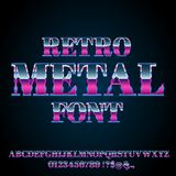 Retro Metal Font. 80`s and 90`s retro style vector font with chrome effect on letters Stock Photo