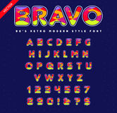 80`s - 90`s Style Alphabet. Colorful Bright Font Set. Vector. EPS 10 Royalty Free Stock Image