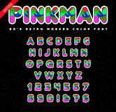 80`s - 90`s Style Alphabet. Colorful Bright Font Set. Vector. Stock Images