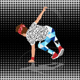 80s and 90s style street break dancer. Performance royalty free illustration