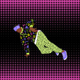 80s and 90s style street break dancer. Performance Vector Illustration