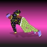 80s and 90s style street break dancer. Performance Stock Illustration