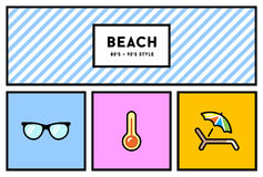 80s or 90s Stylish Icon Set with Retro Colours. Vector 80s or 90s Stylish Icon Set with Retro Colours Stock Photography