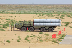 S-300 (SA-10 Grumble). ASHULUK TRAINING AREA, ASTRAKHAN REGION, RUSSIA - AUG 07, 2016: The international army games - 2016. The contest Keys to the sky. The stock photography