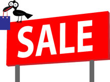 It's sale time. Illustration of billboard or signboard of sale with crow and shopping bag Royalty Free Stock Photography