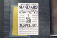 1970s San Gennaro Feast Poster for Filming of `The Irishman` in New York City Royalty Free Stock Photo