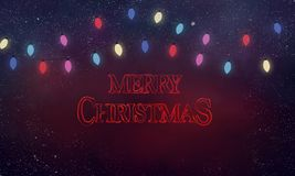 Spooky stranger things Christmas card royalty free stock photography