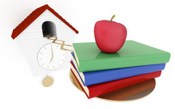 It's school time. Back to school concept. 3d rendered illustration Royalty Free Stock Images