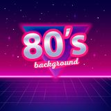 80s sci-fi background with perspective grid. Stars, triangle and text. Abstract retro background in 80s style. Disco, neon. Vector illustration Royalty Free Stock Photo