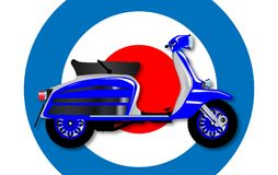 60s Scooter and UK Symbol. A typical 1960 style motor scooter over a UK symbol background stock illustration