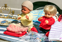 70s second hand plastic dolls for knitting know-how outdoor Royalty Free Stock Photo