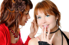 That's a secret. Two young woman sharing a secrets isolated on white Stock Photos