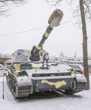 2S3- Self-propelled howitzer. MOSCOW, RUSSIA- DECEMBER 15- 9A35- 2S3- Self-propelled howitzer Acacia (1967) at the Museum of technique V.Zadorozhnyj on December Stock Photo