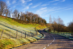 S-shape road with sunlight stock photos