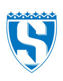 S Shield. Blue vector shield with stylized letter S in the middle Stock Photos