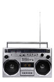 1980s Silver ghetto radio boom box with antenna up isolated on w Stock Image