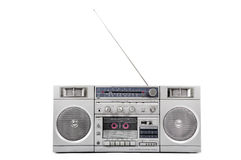 1980s Silver radio boom box with antenna up isolated on white. Front stock photography
