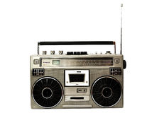 1980s Silver radio boom box with antenna up isolated on white Stock Photos