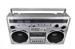 1980s Silver radio boom box  isolated on white. above Stock Photo