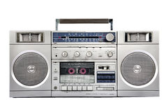 1980s Silver radio boom box isolated on white. front. 1980s Silver radio boom box with cassette isolated on white background stock photos
