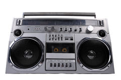 1980s Silver retro ghetto radio boom box isolated on white. Background with clipping path royalty free stock images
