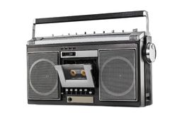 1980s Silver retro radio boom box isolated on white background.  royalty free stock photo